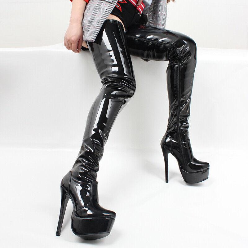 Wouomo Nightclub Thigh-High stivali 6.24'' Heels Patent Leather Stilettos scarpe