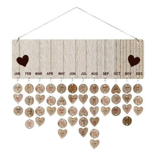 Hanging Wood Calendar Plaque Family Birthday Reminder Sign DIY Home Ornament