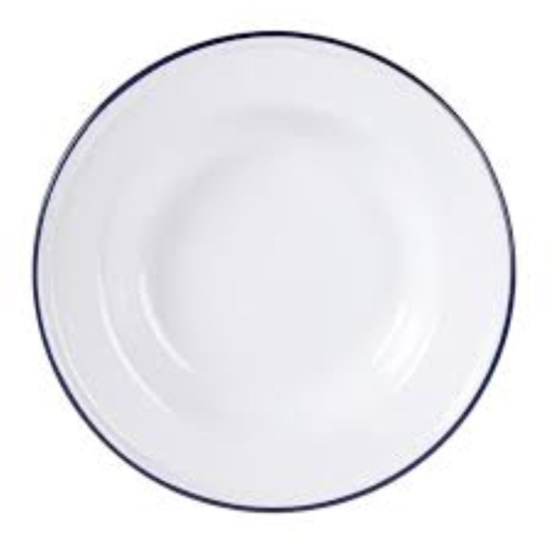 12x Enamel Soup Plate 24cm  Cereal Bowl White bluee Rim Camping 4WD Home Kitchen  first-class quality