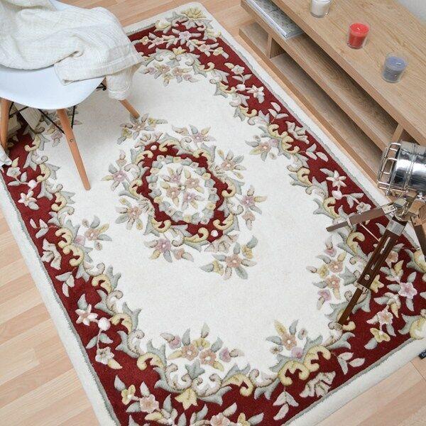 Bijou de plantation crème rouge 04 chinois Aubusson Laine tapis dans dans tapis différentes tailles af70e9