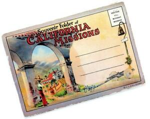 1920s-CALIFORNIA-MISSIONS-souvenir-postcard-folder-18-pix-Santa-Barbara-etc