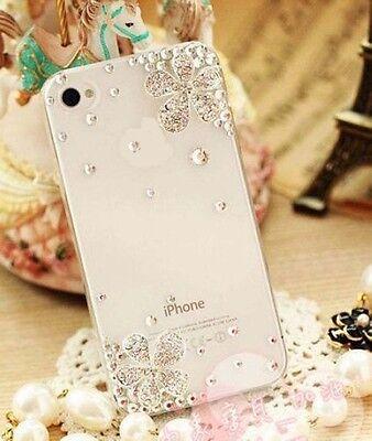 For Apple iPhone X 8 7 6 Plus 5 Transparent Rhinestone metal flowers case cover