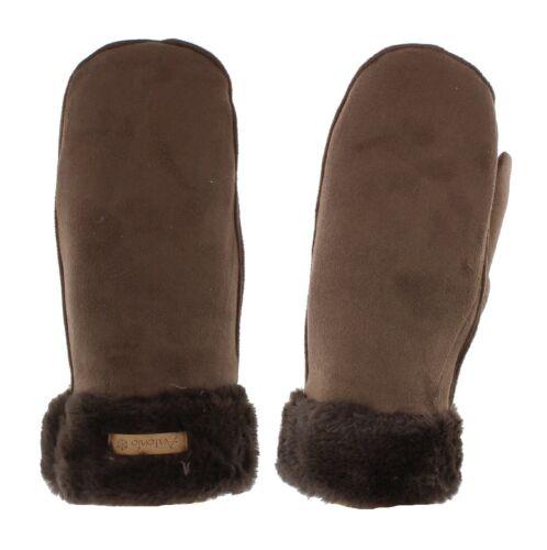 Luxury Soft Brushed Feel Fluffy Trim Ladies Mittens Black//Brown//Grey//Pink