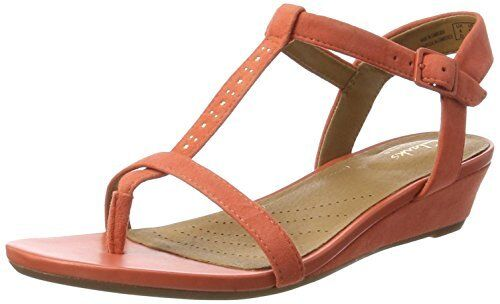 Clarks Women's Parram white Wedge Heels Sandals orange (Coral Suede) UK 5