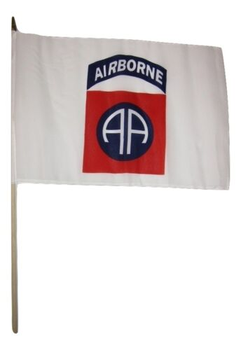 "12x18 12/""x18/"" 82nd Airborne Division White Stick Flag wood staff"