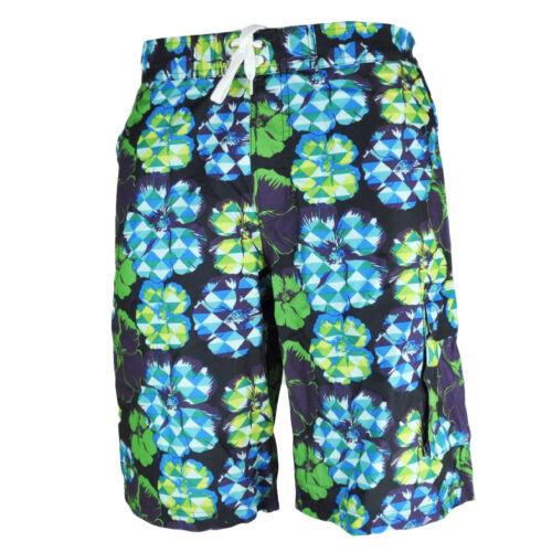 Panama Beach Floral Hawaiian Print Navy Green Mesh Lining Swimming Shorts Mens