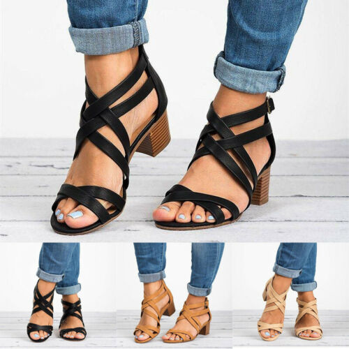 Fashion Women/'s Open Toe Ankle Strap Chunky Low Heel Dress Sandal Buckle Shoes