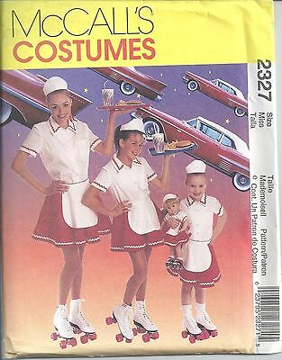 McCall's Sewing Pattern # 2327 Misses Car Hop Costume Size Misses Sm-Med-Lg