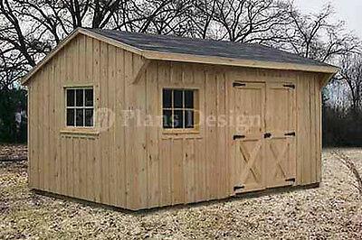 10' x 14' Saltbox Roof Shed Plans / Blueprints, #71014