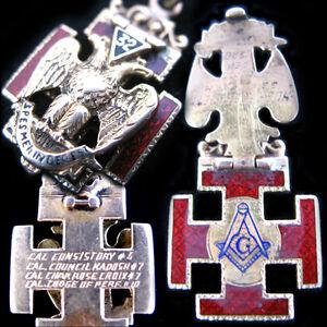 Antique 1920 Old Mason Masonic Masonry Solid Gold Enamel