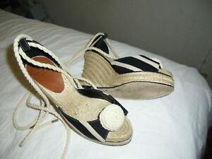 9bfa744e075 KATE SPADE Stripe Blk Tan Wedge ESPADRILLES Sandals SZ7M Ankle Ties ...