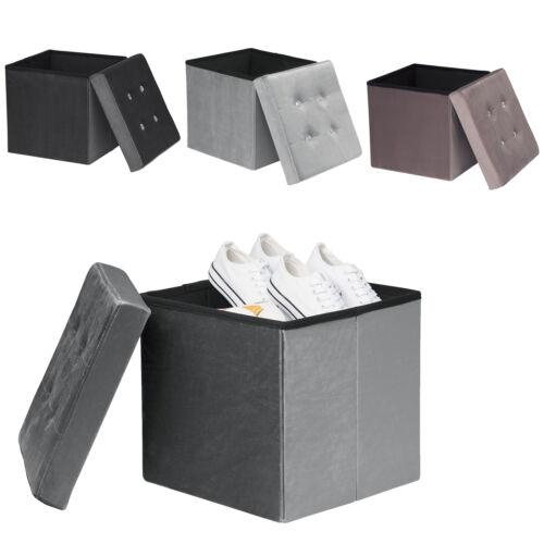 Sitzhocker Sitzwürfel Samt faltbarer Aufbewahrungsbox Ottomane Sitzbank 4Farben