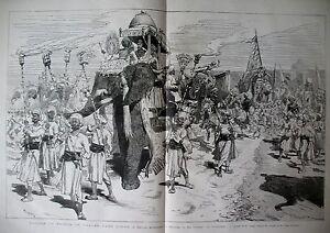 INDE-BARODA-CORTEGE-DU-GUICOWAR-POONAH-ELEPHANTS-PRINCE-DE-GALLES-GRAVURES-1875