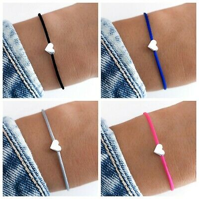 Begeistert Herz Armband ♥ Viele Farben Makramee Silber Gold Blau Schwarz Rosa Liebe Partner