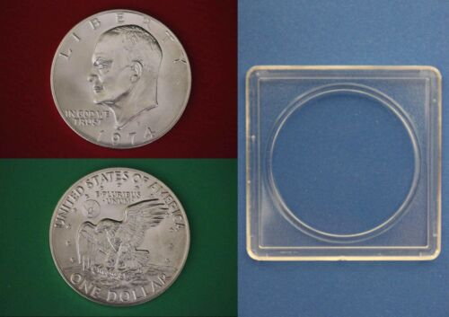 1974 S 40/% Silver BU Eisenhower Dollar Ike With 2x2 Snap Combined Shipping
