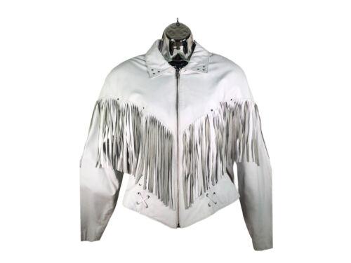 vtg Chia womens leather jacket sz L cropped motorc