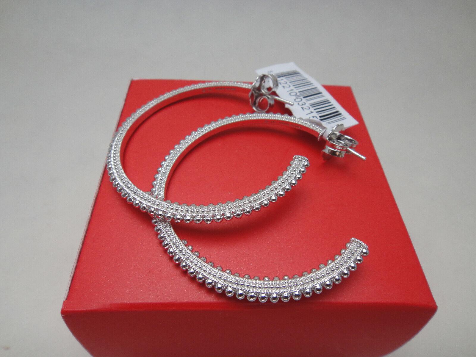 59dad224f4727 Judith Ripka Sterling Silver Classic Beaded 46mm Hoop Earrings