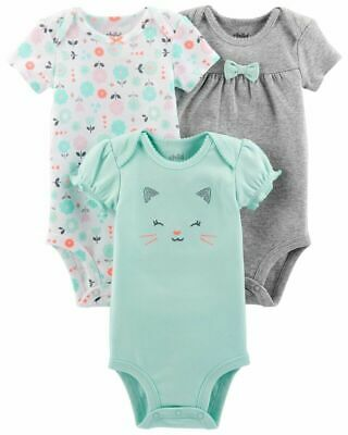 Child of Mine Carters Baby Girl Bodysuits 3pc Mint Green Grey Cat Flowers 0-3 M