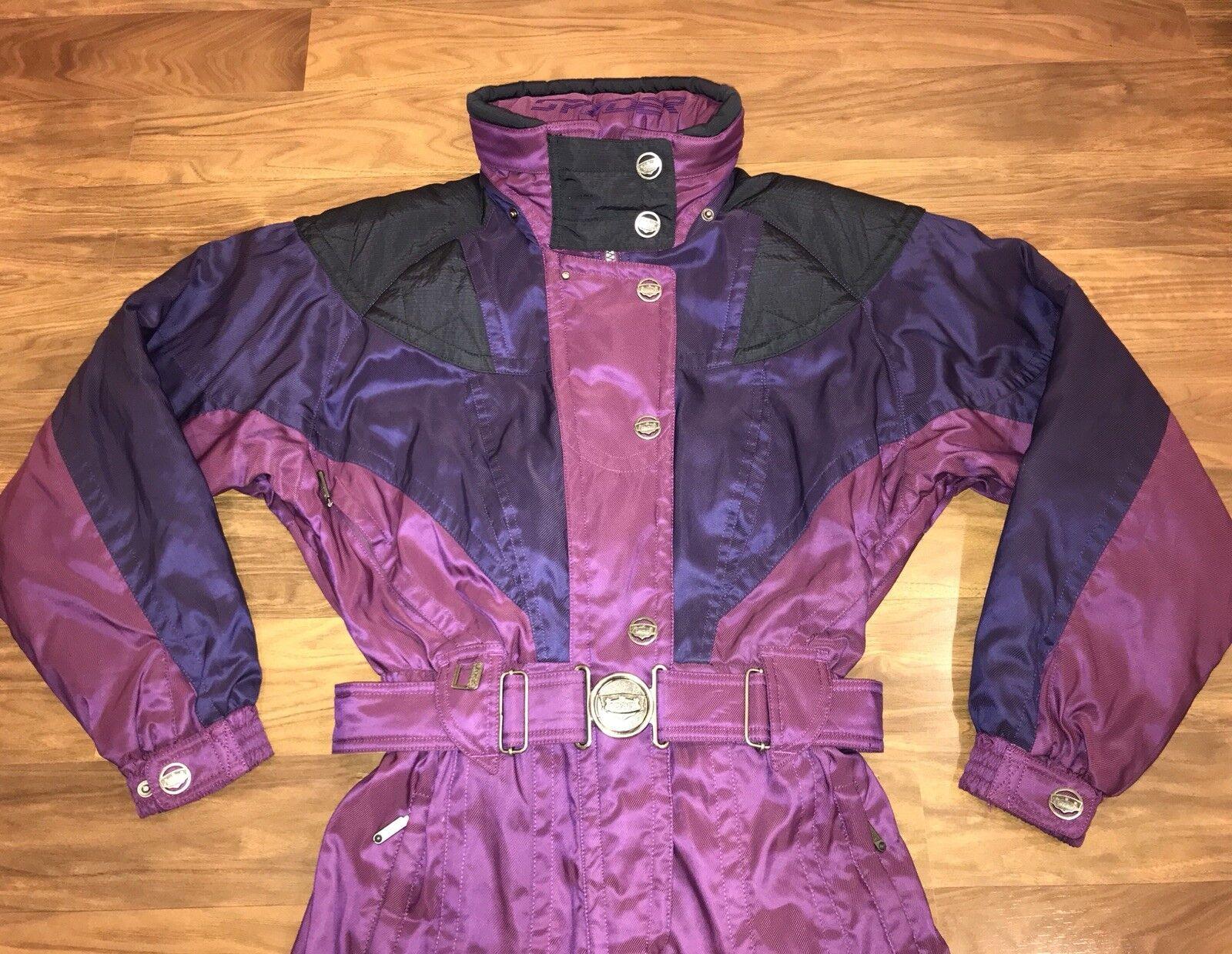 Purple SPYDER Womens 8 One Piece SKI SUIT Snow Bib coat Snowsuit vtg 80s 90s M L