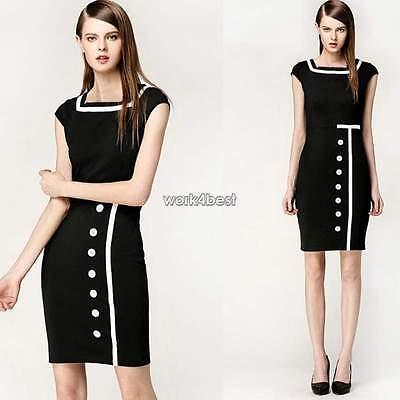 Womens Ladies Business Bodycon Pencil Black Cocktail Evening Party Mini Dress