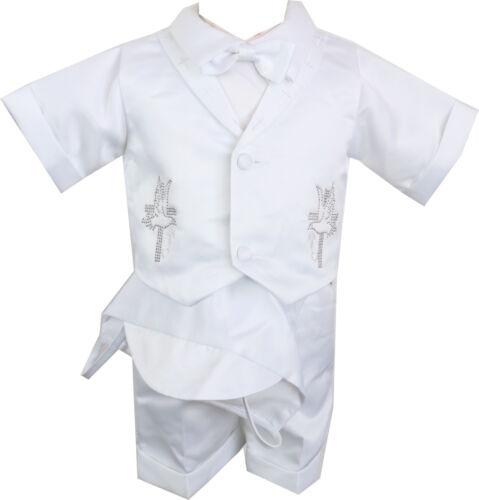White Boys baptism christening Rhinestud rhinestone set cross dove complete set