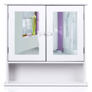 wandmontage wei holz badezimmer spiegel schrank doppel t r aufbewahrungs regal ebay. Black Bedroom Furniture Sets. Home Design Ideas