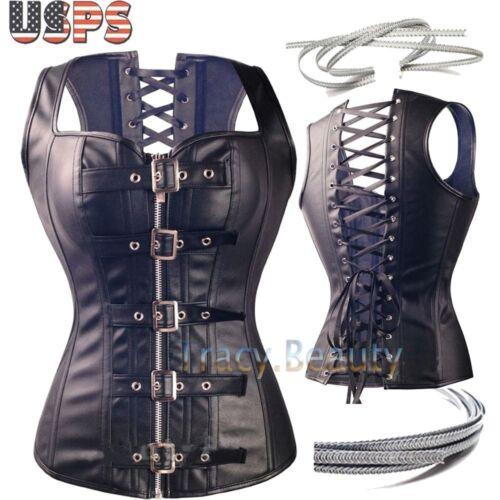US Plus size women corset bustier top lace up waist training Cincher black S-6XL