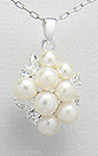 """GORGEOUS 3g Solid Sterling Silver 1"""" Pearl Cluster Pendant NEW"""