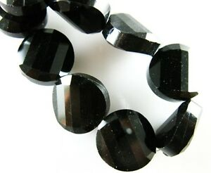 10pcs-14mm-Faceted-Glass-Crystal-Twist-Discoid-Charms-Loose-Spacer-Beads-Black