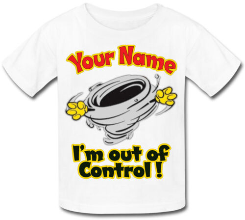 OUT OF CONTROL FUNNY PERSONALISED KIDS T-SHIRT GREAT GIFT FOR ANY CHILD /& NAMED