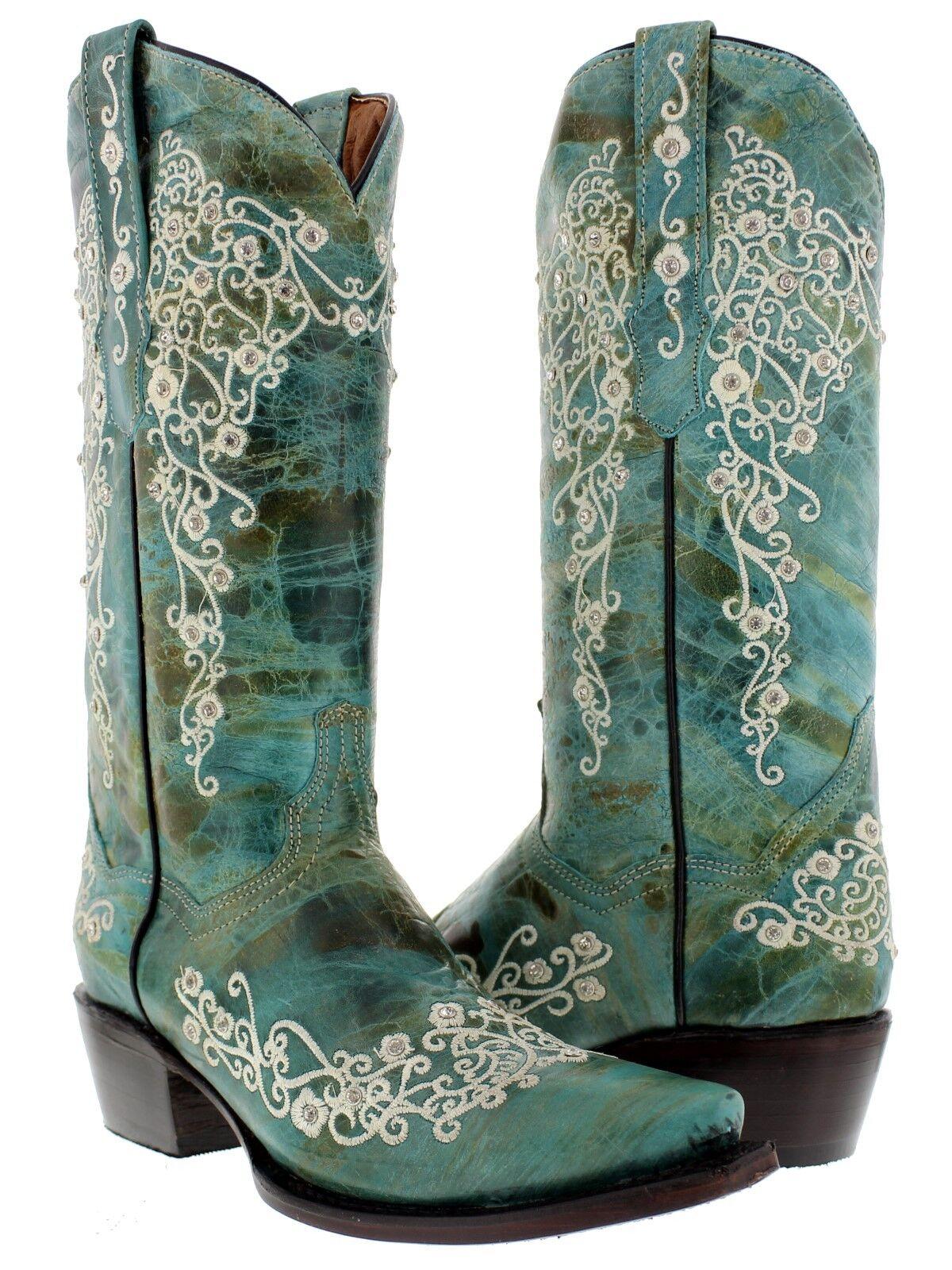 Mujer botas de vaquero occidental de Cuero Cuero Cuero Turquesa Pedrería Rodeo Vaquera  estar en gran demanda