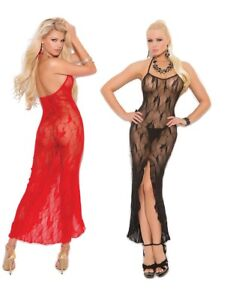 5aa580e5cdbc Elegant Moments, Black/Red Butterfly Lace Gown W/Front Slit, Long ...