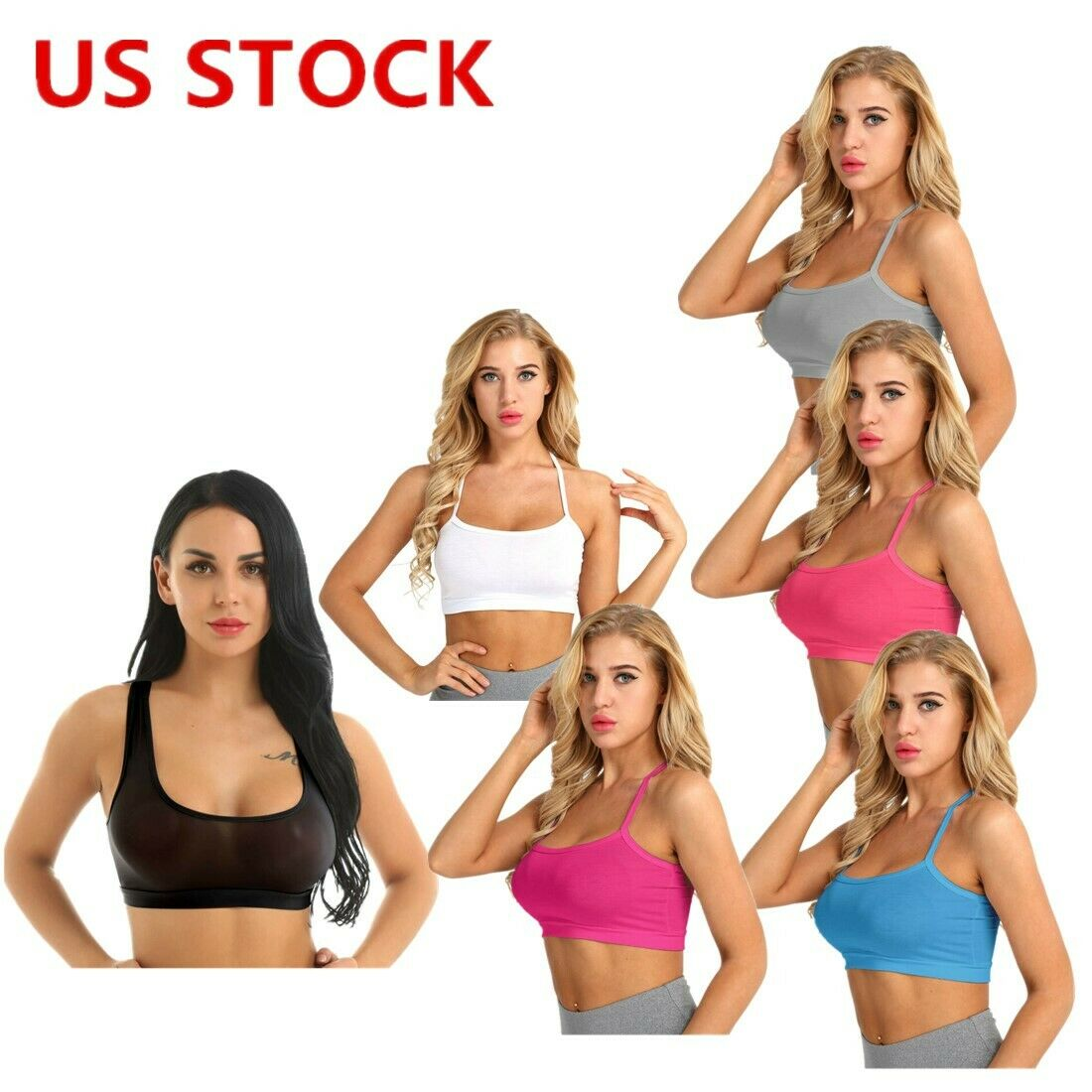 Sexy Women Mesh Yoga Camisole Crop Top T Shirt Blouse Summer Casual Tank Vest US