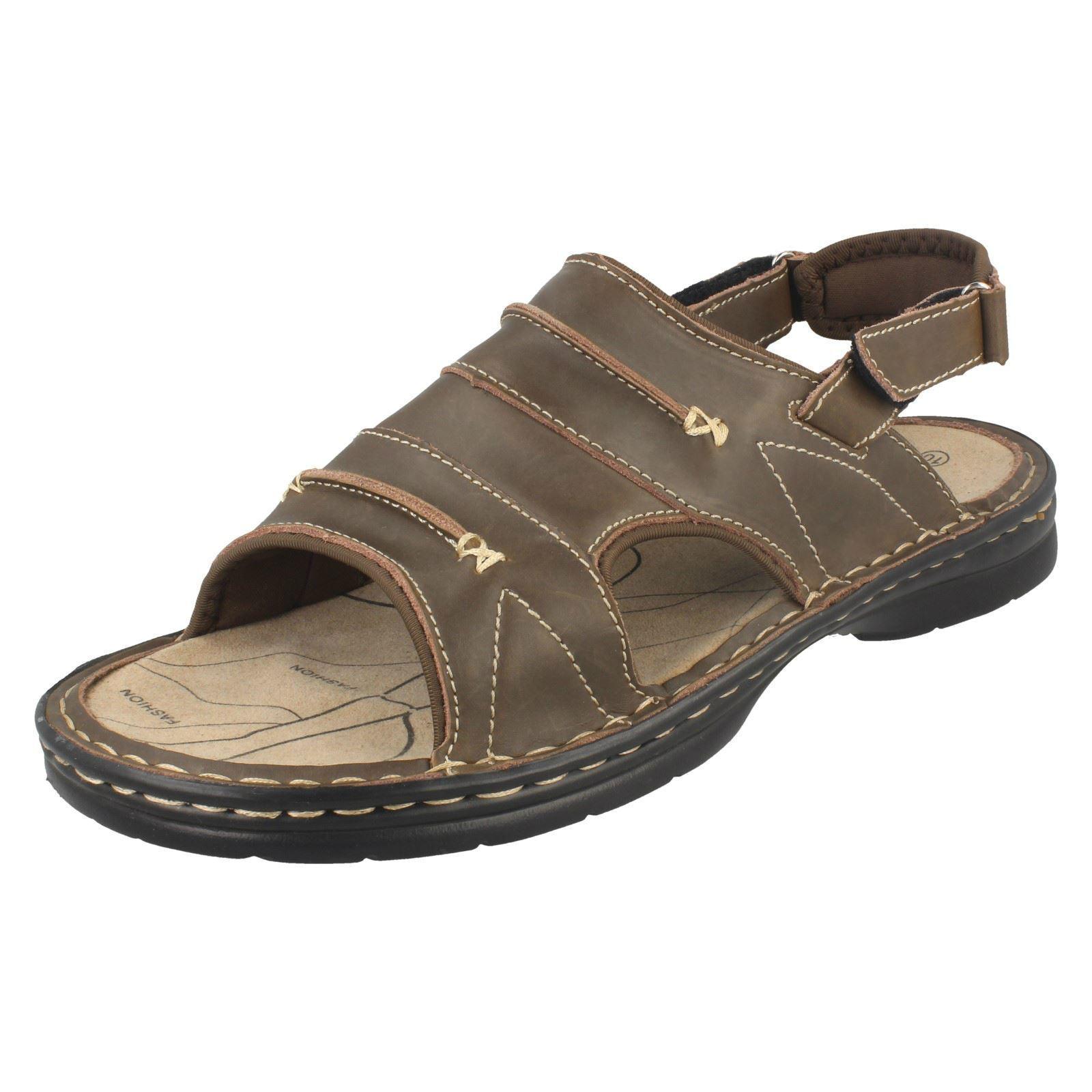 Mens Northwest Territory Mule Style Front Hook & Loop Leather Sandals Savanna