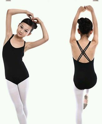 New Black criss cross strap ballet leotard cotton dance age 9-10  UK seller 2