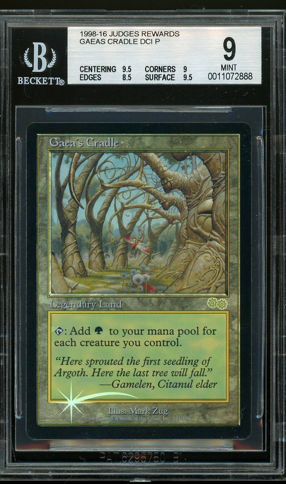 Gaea's Cradle Cradle Cradle - DCI Judge foil, BGS 9 MINT. MTG (pop 1 of 11) 014cc6