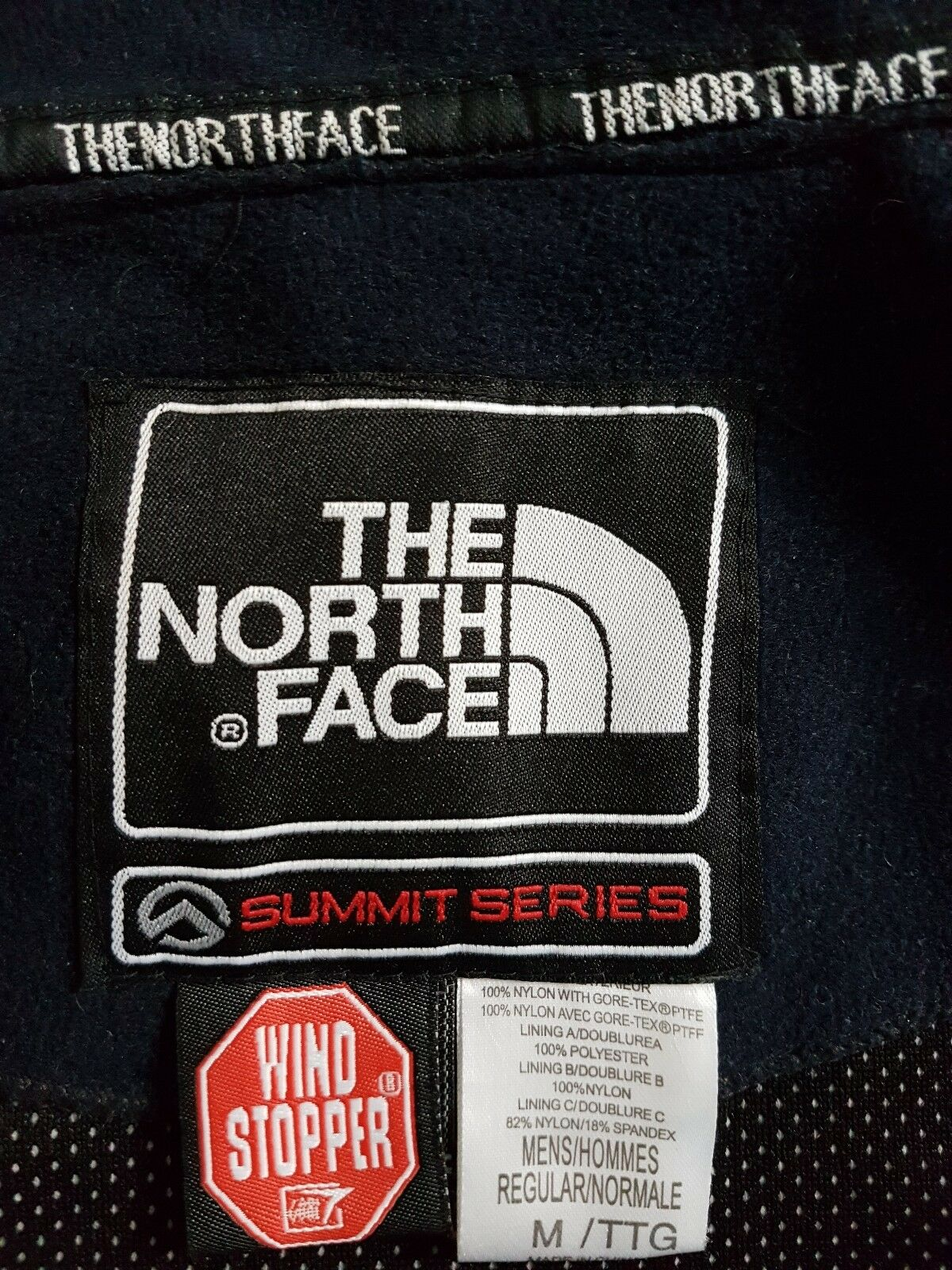 THE North Face Navy/BK Da Uomo Summit Series Windstopper Taglia M Giacca Cappotto Escursionismo