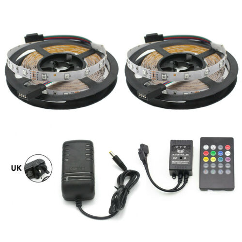 2835 RGB LED Strip Light Colour Changing Music Remote Adapter Controller Kit