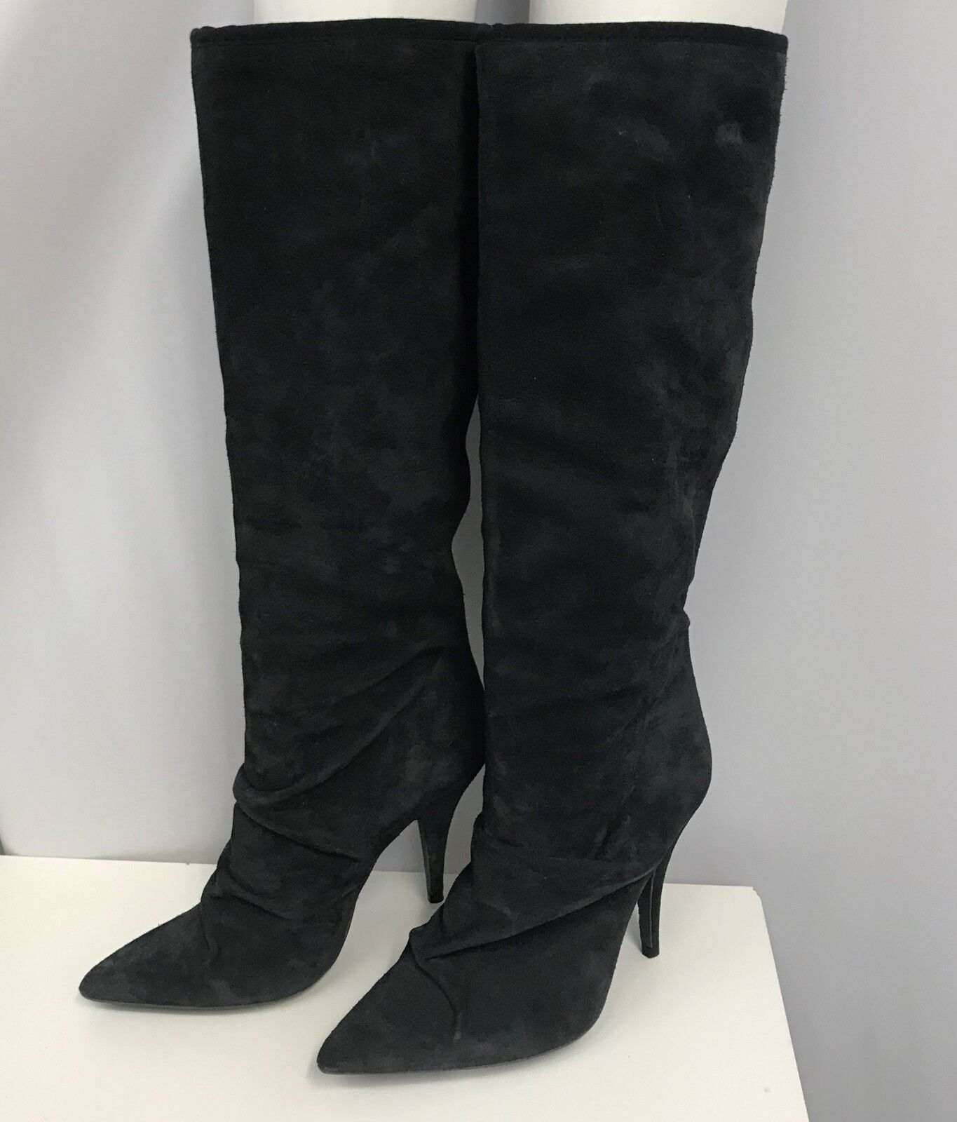 PEDRO GARCIA SUEDE BOOTS GREY NWT  600.00 KNEE HIGH RUCHED SIZE 38 1 2 8 1 2 B