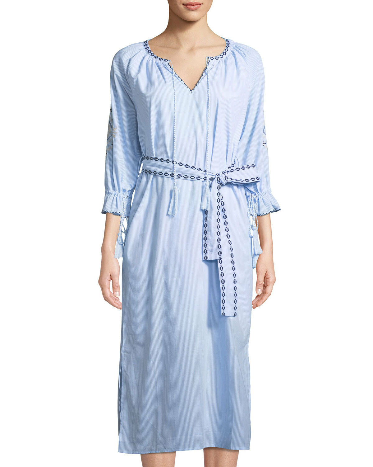 2018 NWT WOMENS MOON RIVER TIE FRONT EMBROIDERED DRESS  light bluee striped