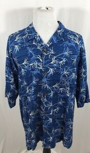 Hawaiian-Tropic-Men-039-s-Blue-White-XXL-Short-Sleeve-Button-Down-Shirt