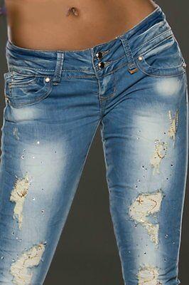Dedito Donna Girly Crash Destroyed Strass Magliaia,trend Anca Jeans Pantaloni 32 34
