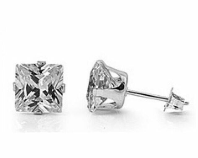 .925 Sterling Silver 1.75ct Princess Cut Simulated Diamond Stud Earrings S22