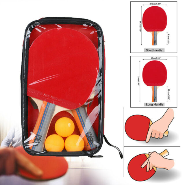 2pcs Professional Table Tennis Racket Ping Pong Paddle Bat+3pcs Balls Bag Set