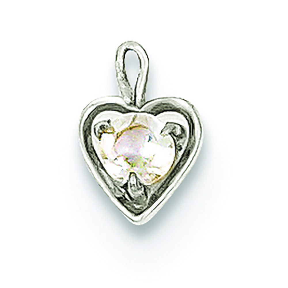 14K White gold April Synthetic Birthstone Heart Charm Pendant MSRP  117