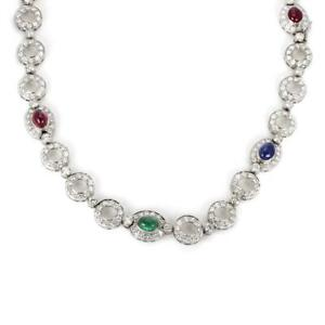 21-Carats-Diamond-Ruby-Emerald-Sapphire-18k-White-Gold-Circle-Link-Necklace