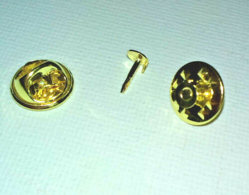 2 x SHINY GOLD LAPEL PIN BLANKS Badge Clasp TEAM BROOCH Hat Coat Tie MYO CRAFTS