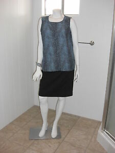 Misoka-Animal-Print-Back-Keyhole-Sleeveless-Tunic-Blouse-Sz-Med