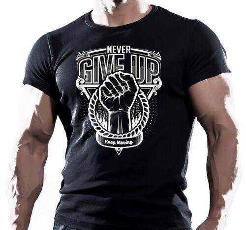 NEVER GIVE UP BODYBUILDING GYM TEE WORKOUT MOTIVATION MENS T SHIRT UFC muay thai