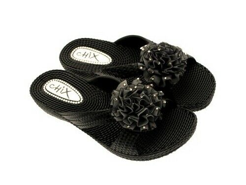 Womens Low Wedge Sandals Eva Flip Flops 3D Flower Diamante Beach Holiday Shoes